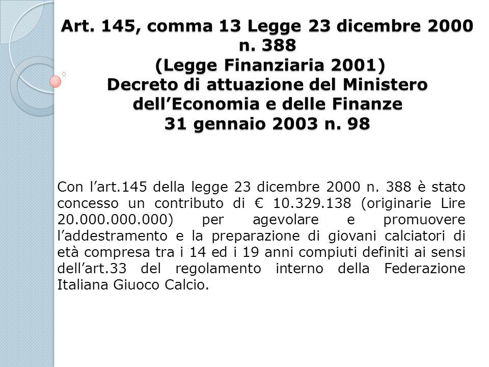Art. 145, comma 13 Legge 23 dicembre 2000 n. 388 (Legge Finanziaria 2001) Decreto di attuazione del Ministero dellEconomia e delle Finanze 31 gennaio