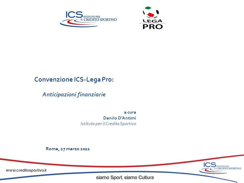 Convenzione ICS-Lega Pro: Nuove Opportunità di finanziamento a breve termine Obiettivo: fornire alle società affiliate le risorse necessarie a soddisfare esigenze di cassa legate al sostenimento dei costi di gestione, attraverso lo smobilizzo dei crediti vantati.