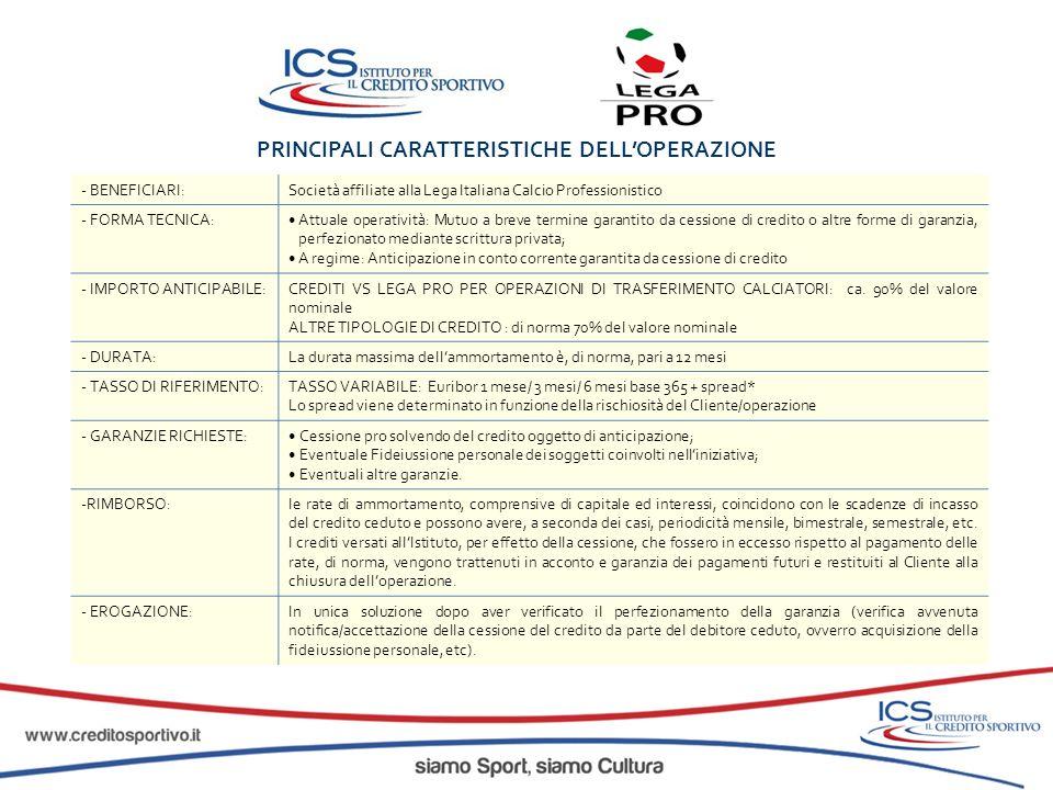 PRINCIPALI CARATTERISTICHE DELLOPERAZIONE - BENEFICIARI:Società affiliate alla Lega Italiana Calcio Professionistico - FORMA TECNICA:Attuale operativi