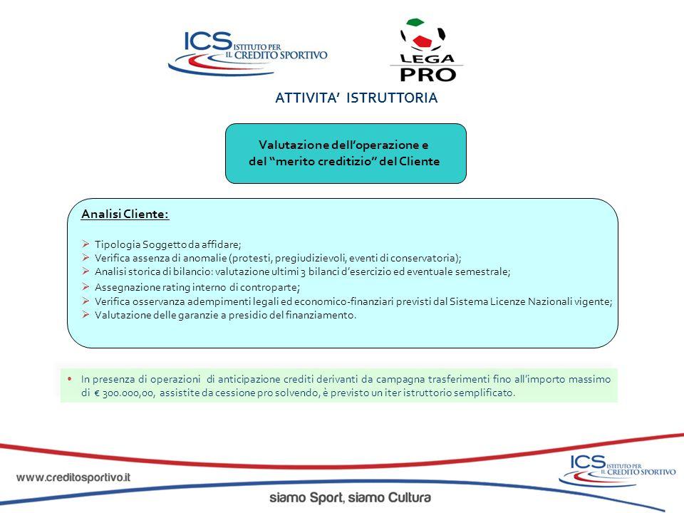 ATTIVITA ISTRUTTORIA Valutazione delloperazione e del merito creditizio del Cliente Analisi Cliente: Tipologia Soggetto da affidare; Verifica assenza