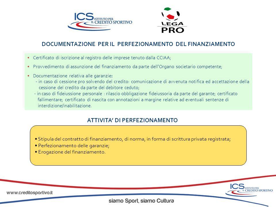 ATTIVITA DI PERFEZIONAMENTO Stipula del contratto di finanziamento, di norma, in forma di scrittura privata registrata; Perfezionamento delle garanzie