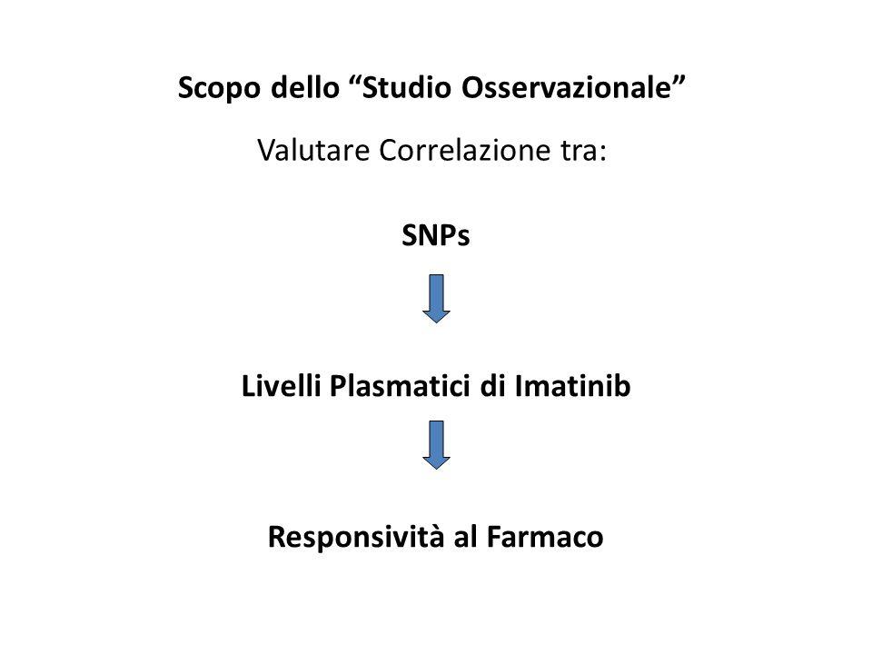 Scopo dello Studio Osservazionale Valutare Correlazione tra: SNPs Livelli Plasmatici di Imatinib Responsività al Farmaco