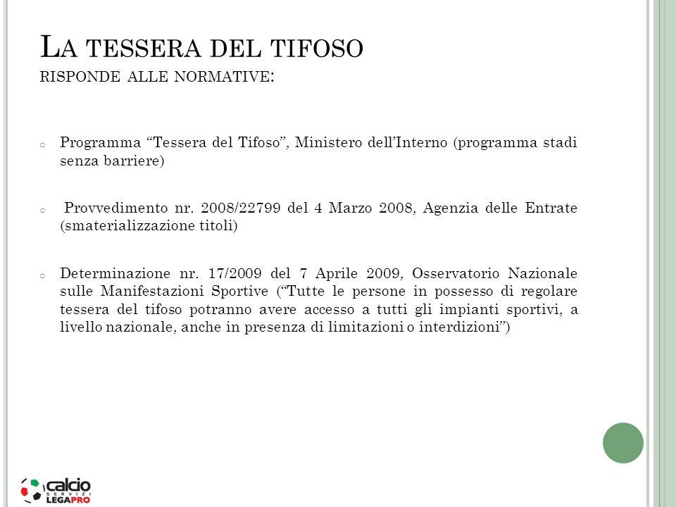 L A TESSERA DEL TIFOSO RISPONDE ALLE NORMATIVE : o Programma Tessera del Tifoso, Ministero dellInterno (programma stadi senza barriere) o Provvediment