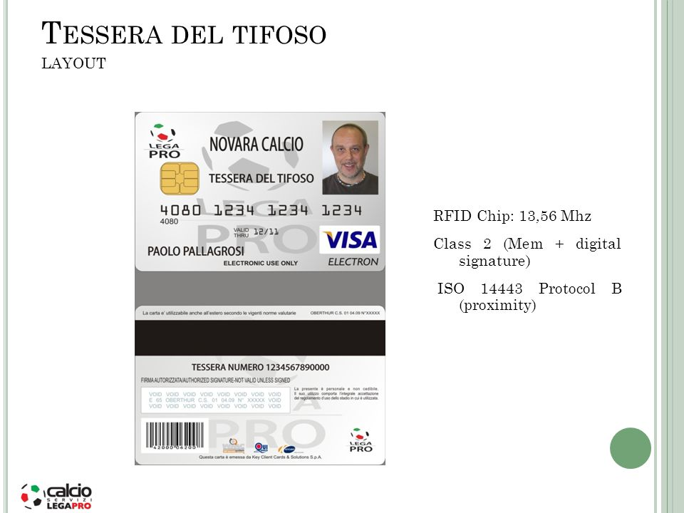 T ESSERA DEL TIFOSO LAYOUT RFID Chip: 13,56 Mhz Class 2 (Mem + digital signature) ISO 14443 Protocol B (proximity)