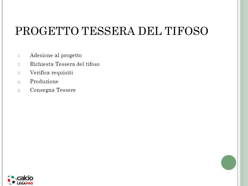 PROGETTO TESSERA DEL TIFOSO 1. Adesione al progetto 2. Richiesta Tessera del tifoso 3. Verifica requisiti 4. Produzione 5. Consegna Tessere