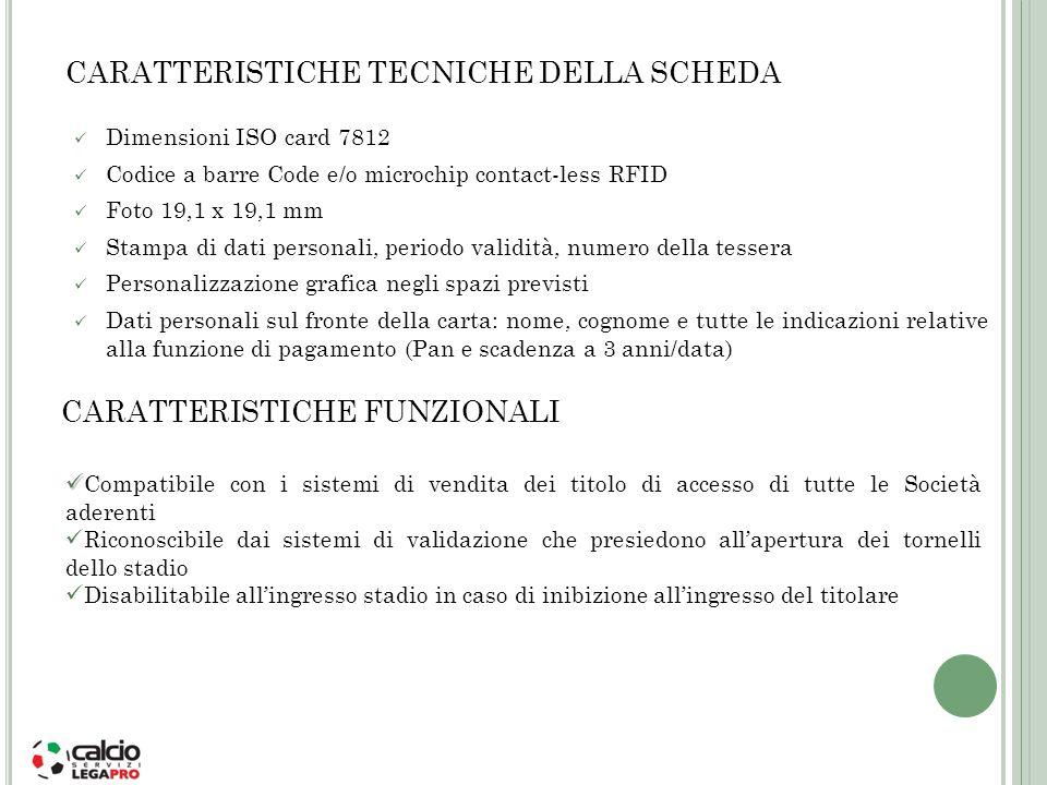 Dimensioni ISO card 7812 Codice a barre Code e/o microchip contact-less RFID Foto 19,1 x 19,1 mm Stampa di dati personali, periodo validità, numero de
