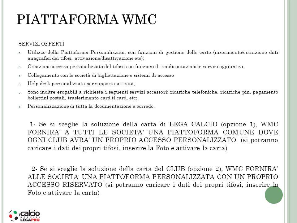 PIATTAFORMA WMC SERVIZI OFFERTI o Utilizzo della Piattaforma Personalizzata, con funzioni di gestione delle carte (inserimento/estrazione dati anagraf