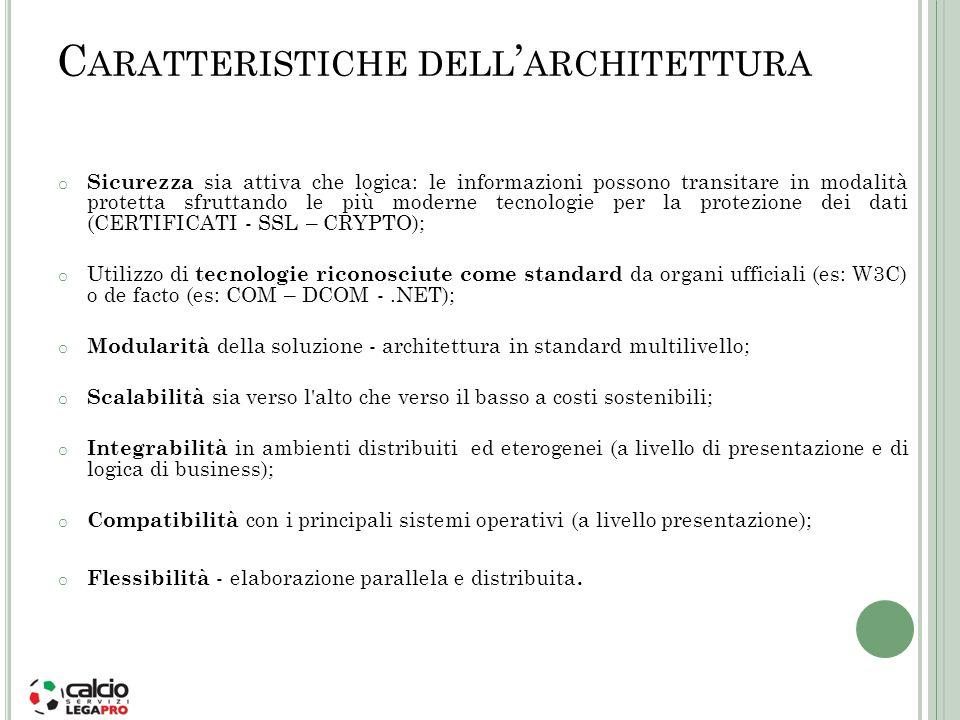 C ARATTERISTICHE DELL ARCHITETTURA o Sicurezza sia attiva che logica: le informazioni possono transitare in modalità protetta sfruttando le più modern