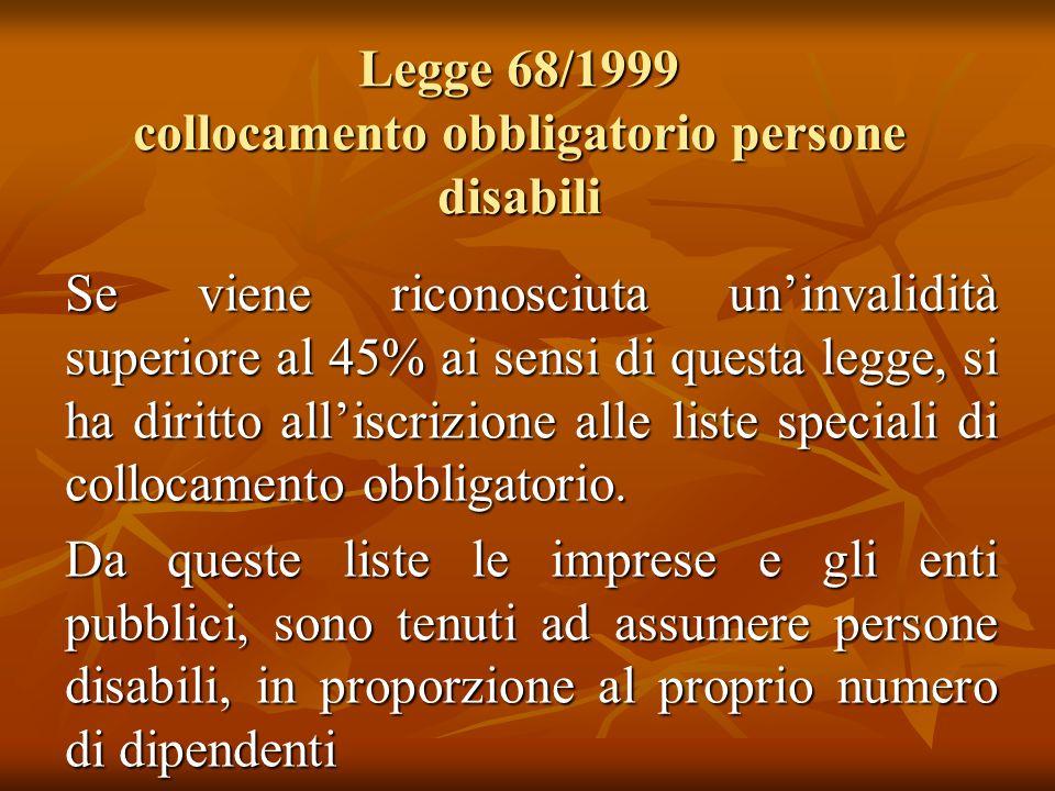 Legge 68/1999 collocamento obbligatorio persone disabili Se viene riconosciuta uninvalidità superiore al 45% ai sensi di questa legge, si ha diritto a