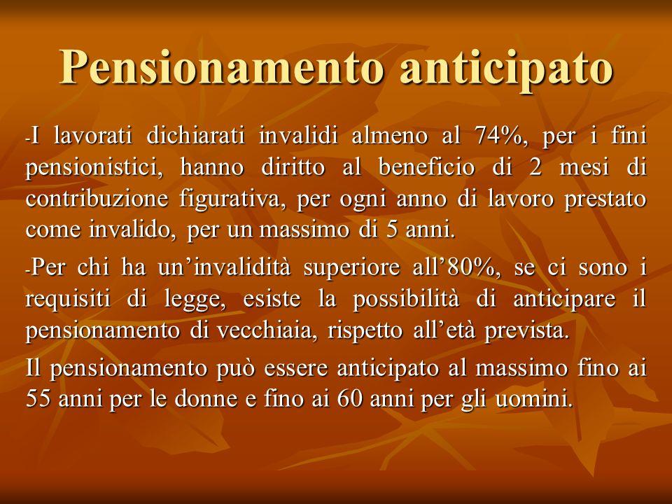 Pensionamento anticipato - I lavorati dichiarati invalidi almeno al 74%, per i fini pensionistici, hanno diritto al beneficio di 2 mesi di contribuzio