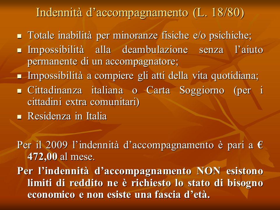Indennità daccompagnamento (L. 18/80) Totale inabilità per minoranze fisiche e/o psichiche; Totale inabilità per minoranze fisiche e/o psichiche; Impo