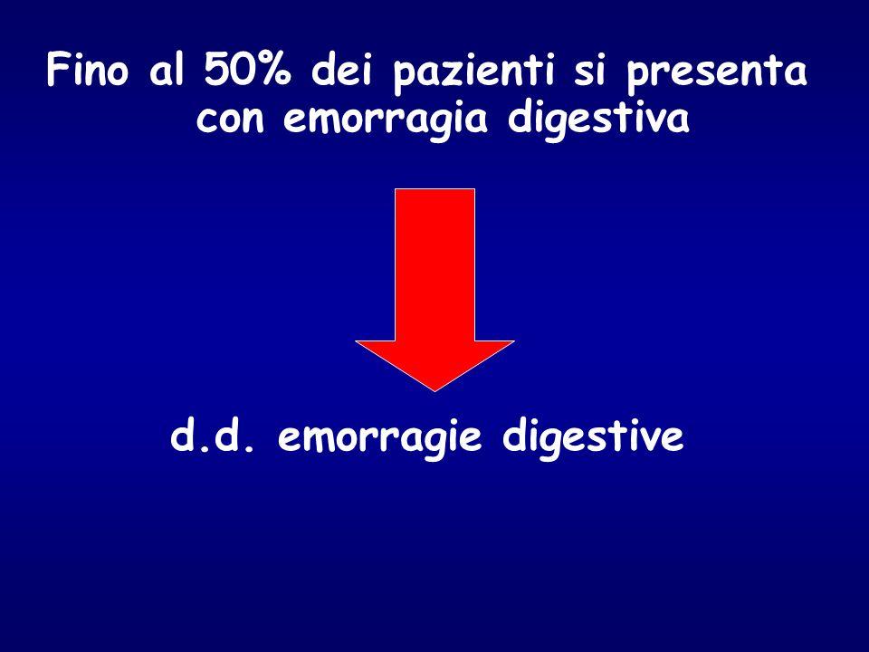 Fino al 50% dei pazienti si presenta con emorragia digestiva d.d. emorragie digestive