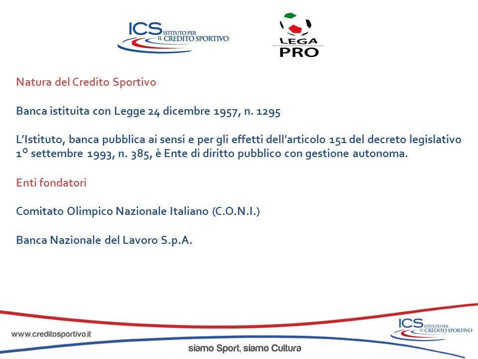 Natura del Credito Sportivo Banca istituita con Legge 24 dicembre 1957, n. 1295 LIstituto, banca pubblica ai sensi e per gli effetti dellarticolo 151