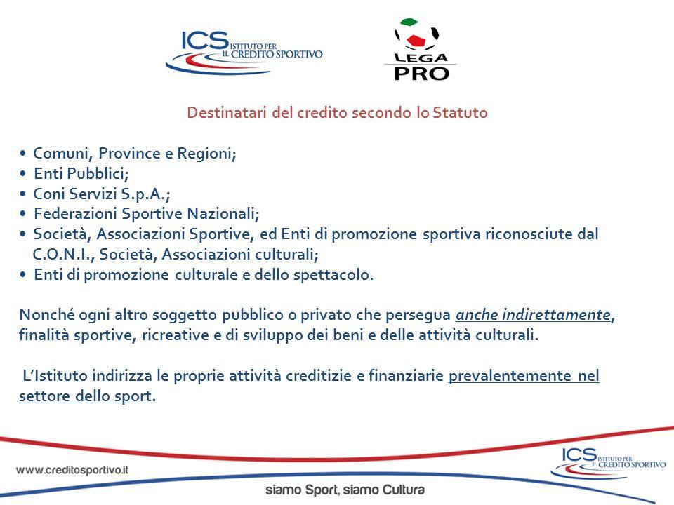 Destinatari del credito secondo lo Statuto Comuni, Province e Regioni; Enti Pubblici; Coni Servizi S.p.A.; Federazioni Sportive Nazionali; Società, As