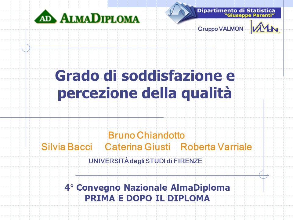 Gruppo VALMON UNIVERSITÀ degli STUDI di FIRENZE Bruno Chiandotto Silvia Bacci Caterina Giusti Roberta Varriale Grado di soddisfazione e percezione del