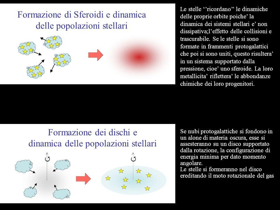 Formazione di Sferoidi e dinamica delle popolazioni stellari Le stelle ricordano le dinamiche delle proprie orbite poiche la dinamica dei sistemi stellari e non dissipativa;leffetto delle collisioni e trascurabile.