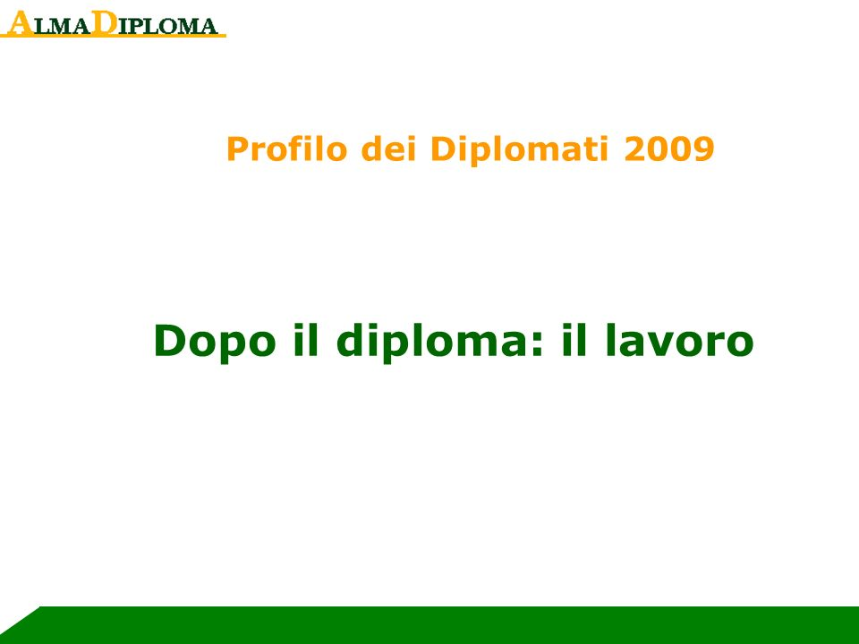 Dopo il diploma: il lavoro Profilo dei Diplomati 2009