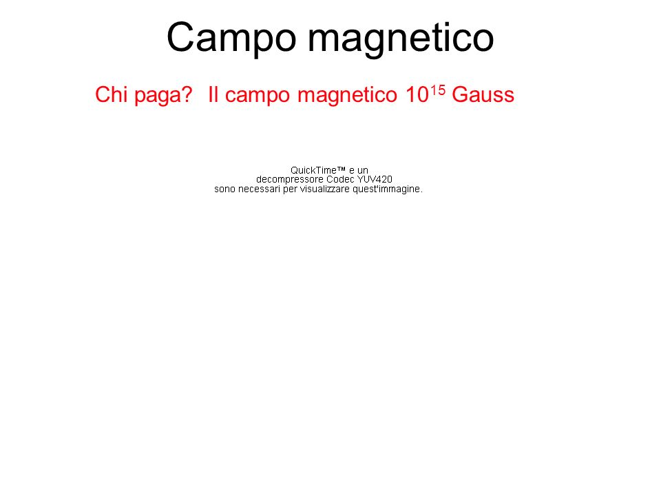 Campo magnetico Chi paga? Il campo magnetico 10 15 Gauss
