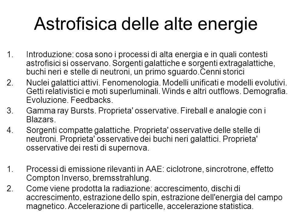 Astrofisica delle alte energie 1.Introduzione: cosa sono i processi di alta energia e in quali contesti astrofisici si osservano. Sorgenti galattiche