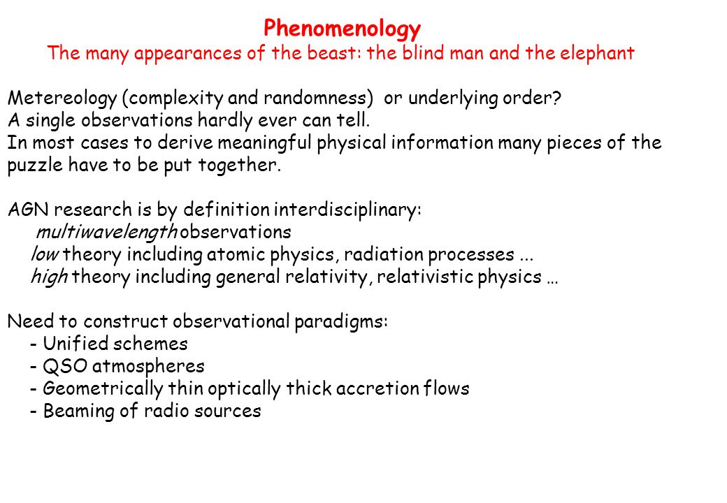 Phenomenology The many appearances of the beast: the blind man and the elephant Metereology (complexity and randomness) or underlying order.