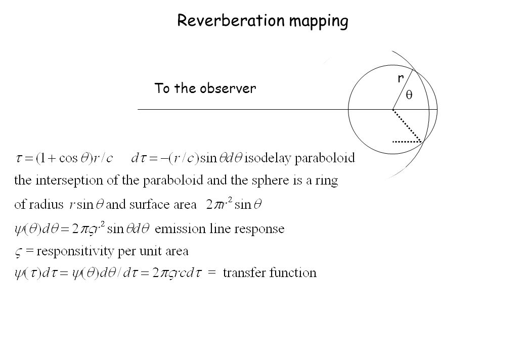 Reverberation mapping r To the observer