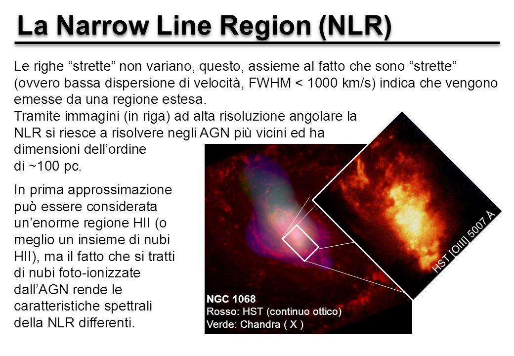 La Narrow Line Region (NLR) Le righe strette non variano, questo, assieme al fatto che sono strette (ovvero bassa dispersione di velocità, FWHM < 1000 km/s) indica che vengono emesse da una regione estesa.