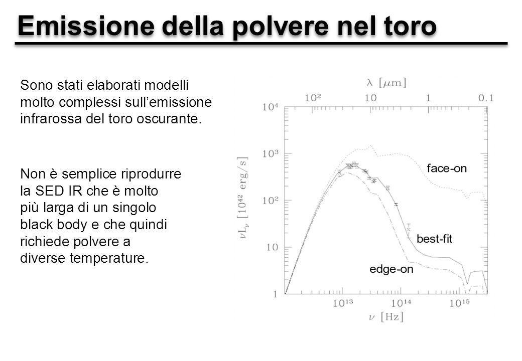 Emissione della polvere nel toro Sono stati elaborati modelli molto complessi sullemissione infrarossa del toro oscurante.