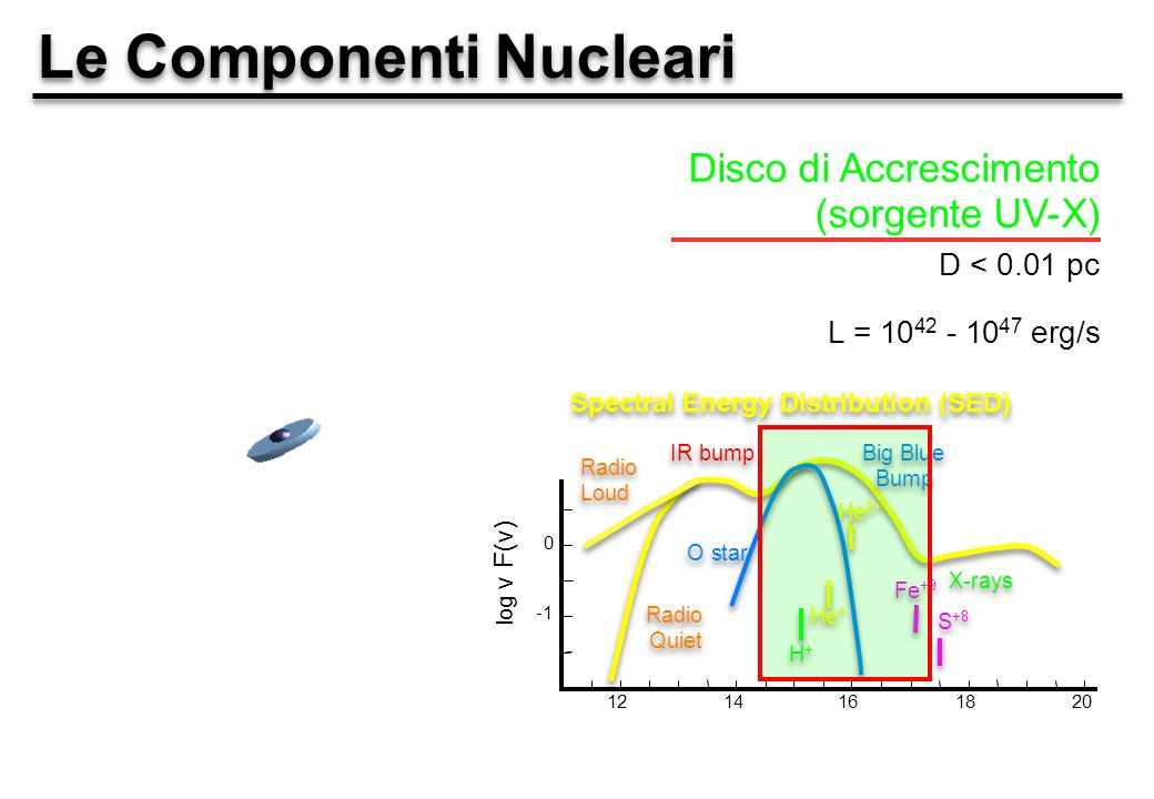 Le Componenti Nucleari Disco di Accrescimento (sorgente UV-X) D < 0.01 pc L = 10 42 - 10 47 erg/s 1214161820 0 log ν F(ν) Big Blue Bump Big Blue Bump IR bump X-rays Spectral Energy Distribution (SED) Radio Quiet Radio Loud O star H+H+ H+H+ He + He 2+ Fe +9 S +8