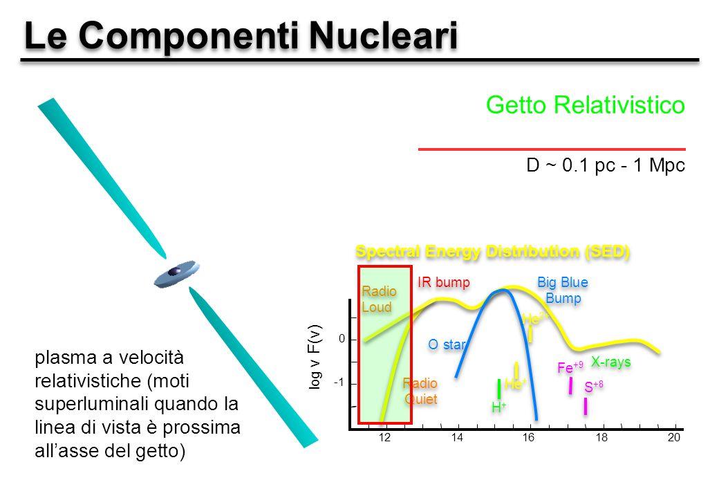 Le Componenti Nucleari Getto Relativistico D ~ 0.1 pc - 1 Mpc plasma a velocità relativistiche (moti superluminali quando la linea di vista è prossima allasse del getto) 1214161820 0 log ν F(ν) Big Blue Bump Big Blue Bump IR bump X-rays Spectral Energy Distribution (SED) Radio Quiet Radio Loud O star H+H+ H+H+ He + He 2+ Fe +9 S +8