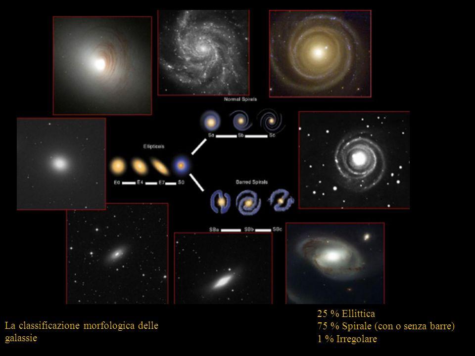 La classificazione morfologica delle galassie Morfologia 25 % Ellittica 75 % Spirale (con o senza barre) 1 % Irregolare
