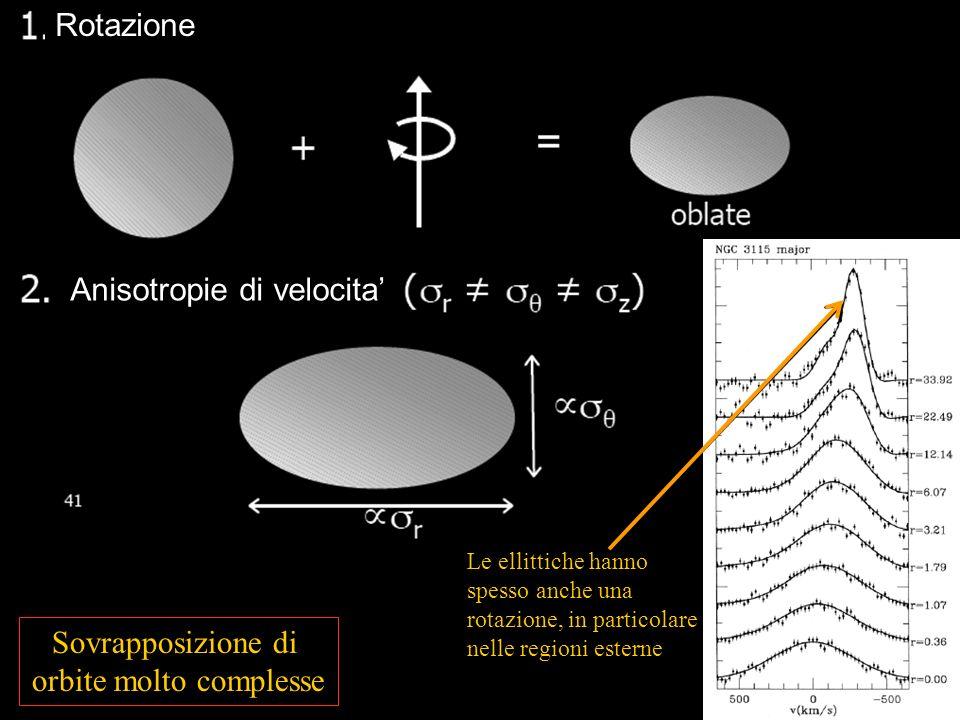 Rotazione Anisotropie di velocita Le ellittiche hanno spesso anche una rotazione, in particolare nelle regioni esterne Sovrapposizione di orbite molto