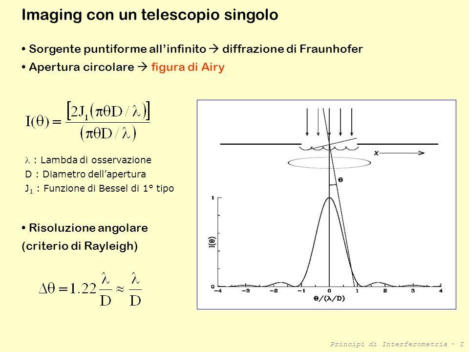 Principi di Interferometria - I Principi di osservazione 2 radiotelescopi fissi a distanza B (baseline) sorgente emette onda radio monocromatica, fronti donda piani B Segnale in uscita Interferenza costruttiva B Segnale in uscita Interferenza distruttiva θ Caso I Sorgente allo zenit Onde arrivano in fase Onde combinate interferiscono costruttivamente Caso II Sorgente si sposta di un angolo = /2B Onde arrivano in controfase Onde combinate interferiscono distruttivamente output nullo θ ~ B