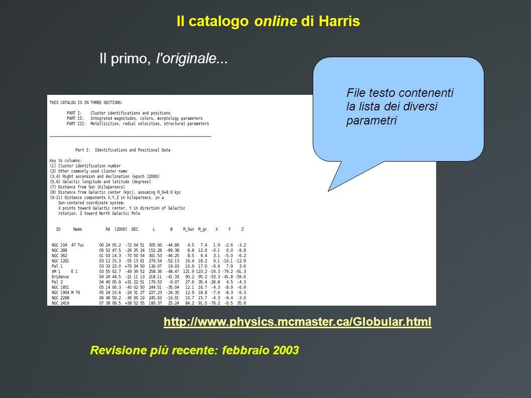 Il catalogo online di Harris http://www.physics.mcmaster.ca/Globular.html Revisione più recente: febbraio 2003 Il primo, l originale...