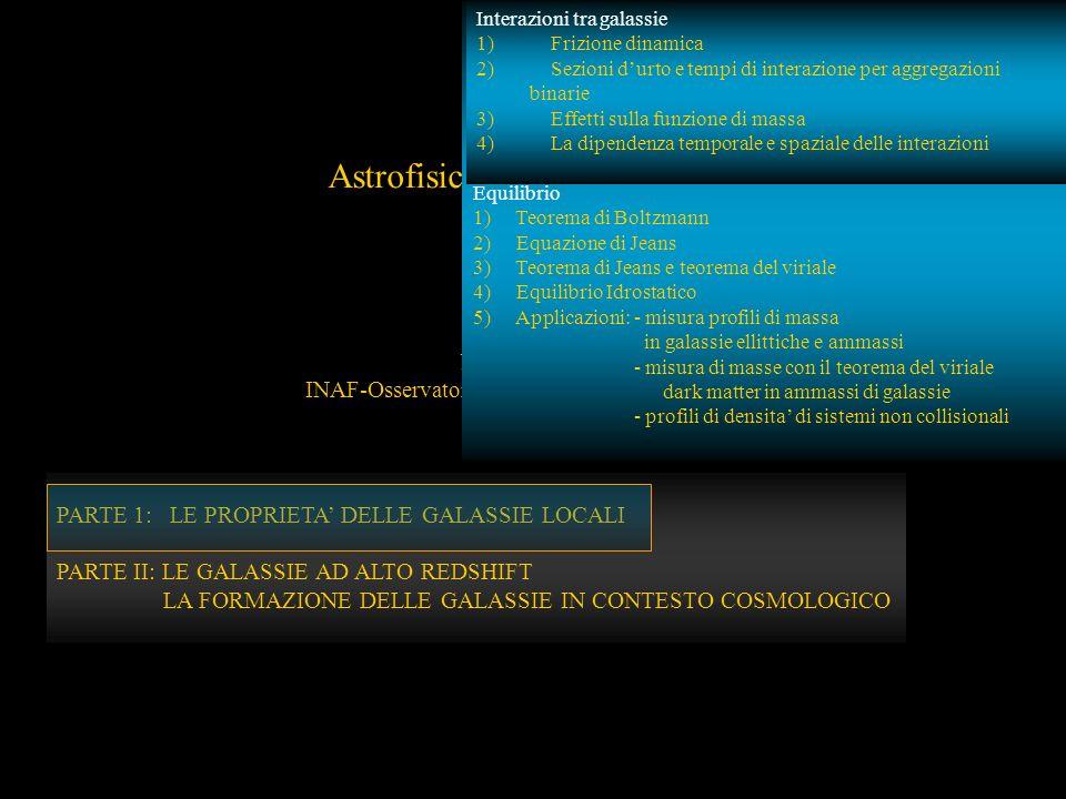 PARTE 1: LE PROPRIETA DELLE GALASSIE LOCALI Astrofisica delle Galassie N. Menci INAF-Osservatorio Astronomico di Roma PARTE 1: LE PROPRIETA DELLE GALA