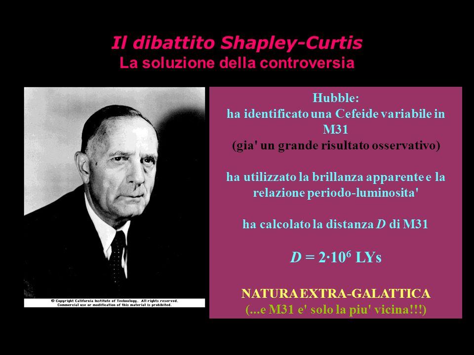 Il dibattito Shapley-Curtis La soluzione della controversia Edwin Powell Hubble (1889-1953) Hubble: ha identificato una Cefeide variabile in M31 (gia'