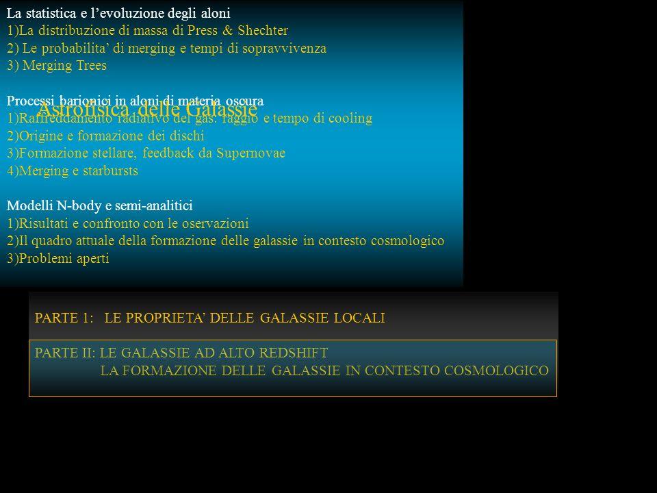 PARTE II: LE GALASSIE AD ALTO REDSHIFT LA FORMAZIONE DELLE GALASSIE IN CONTESTO COSMOLOGICO PARTE 1: LE PROPRIETA DELLE GALASSIE LOCALI PARTE II: LE G
