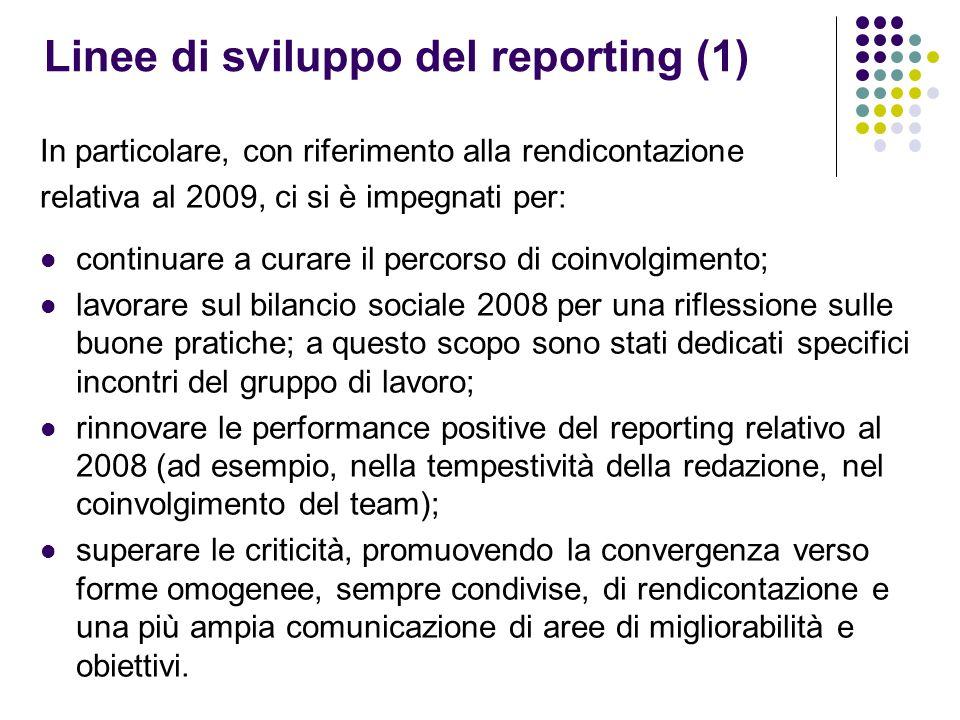 Linee di sviluppo del reporting (1) In particolare, con riferimento alla rendicontazione relativa al 2009, ci si è impegnati per: continuare a curare