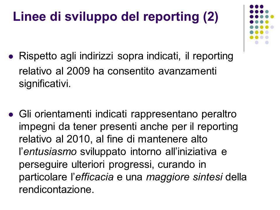 Linee di sviluppo del reporting (2) Rispetto agli indirizzi sopra indicati, il reporting relativo al 2009 ha consentito avanzamenti significativi. Gli