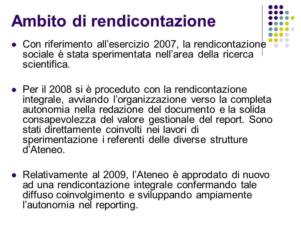 Ambito di rendicontazione Con riferimento allesercizio 2007, la rendicontazione sociale è stata sperimentata nellarea della ricerca scientifica. Per i