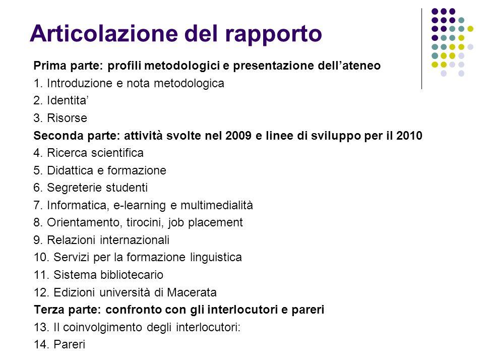 Articolazione del rapporto Prima parte: profili metodologici e presentazione dellateneo 1. Introduzione e nota metodologica 2. Identita 3. Risorse Sec