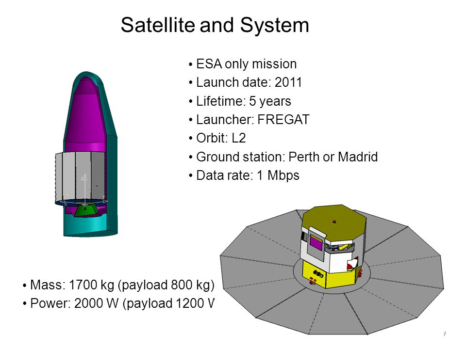 Satellite and System Mass: 1700 kg (payload 800 kg) Power: 2000 W (payload 1200 W) ESA only mission Launch date: 2011 Lifetime: 5 years Launcher: FREG
