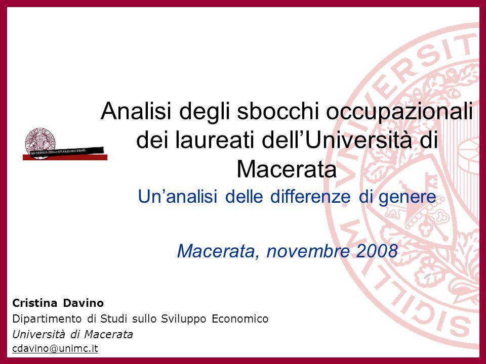 Unanalisi delle differenze di genere negli sbocchi occupazionali dei laureati UNIMC Cristina Davino Approfondimenti Ulteriori approfondimenti sui risultati dellindagine sono presenti sul volume