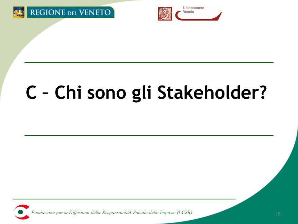 Fondazione per la Diffusione della Responsabilità Sociale delle Imprese (I-CSR) 15 C – Chi sono gli Stakeholder