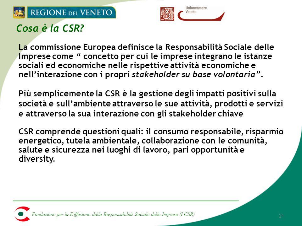 Fondazione per la Diffusione della Responsabilità Sociale delle Imprese (I-CSR) 21 Cosa è la CSR.
