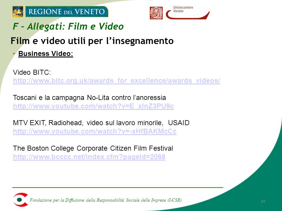 Fondazione per la Diffusione della Responsabilità Sociale delle Imprese (I-CSR) 49 Business Video: Video BITC: http://www.bitc.org.uk/awards_for_excellence/awards_videos/ Toscani e la campagna No-Lita contro lanoressia http://www.youtube.com/watch v=E_xInZ3PU9c MTV EXIT, Radiohead, video sul lavoro minorile, USAID http://www.youtube.com/watch v=-xHfBAKMcCc The Boston College Corporate Citizen Film Festival http://www.bcccc.net/index.cfm pageId=2068 Film e video utili per linsegnamento F – Allegati: Film e Video