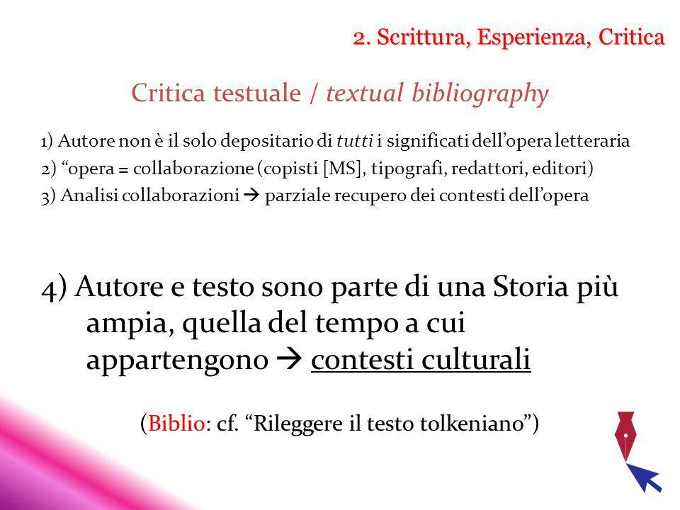 2. Scrittura, Esperienza, Critica Critica testuale / textual bibliography 1) Autore non è il solo depositario di tutti i significati dellopera lettera