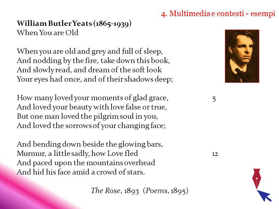 4. Multimedia e contesti - esempi William Butler Yeats (1865-1939) When You are Old When you are old and grey and full of sleep, And nodding by the fi