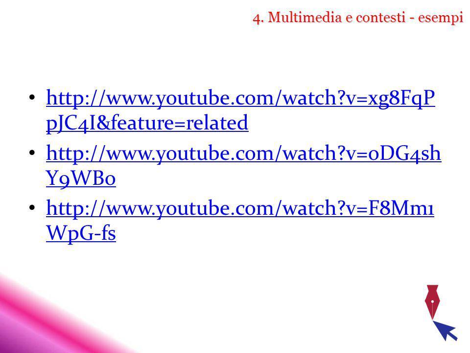 4. Multimedia e contesti - esempi http://www.youtube.com/watch?v=xg8FqP pJC4I&feature=related http://www.youtube.com/watch?v=xg8FqP pJC4I&feature=rela