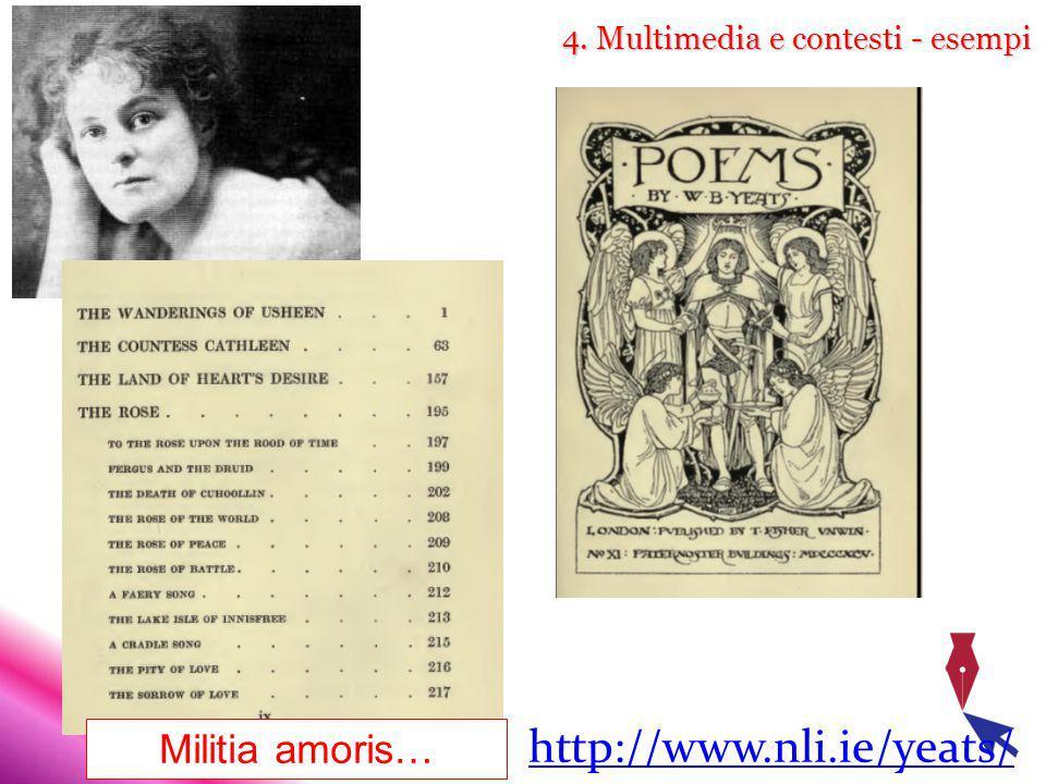 4. Multimedia e contesti - esempi http://www.nli.ie/yeats/ Militia amoris…