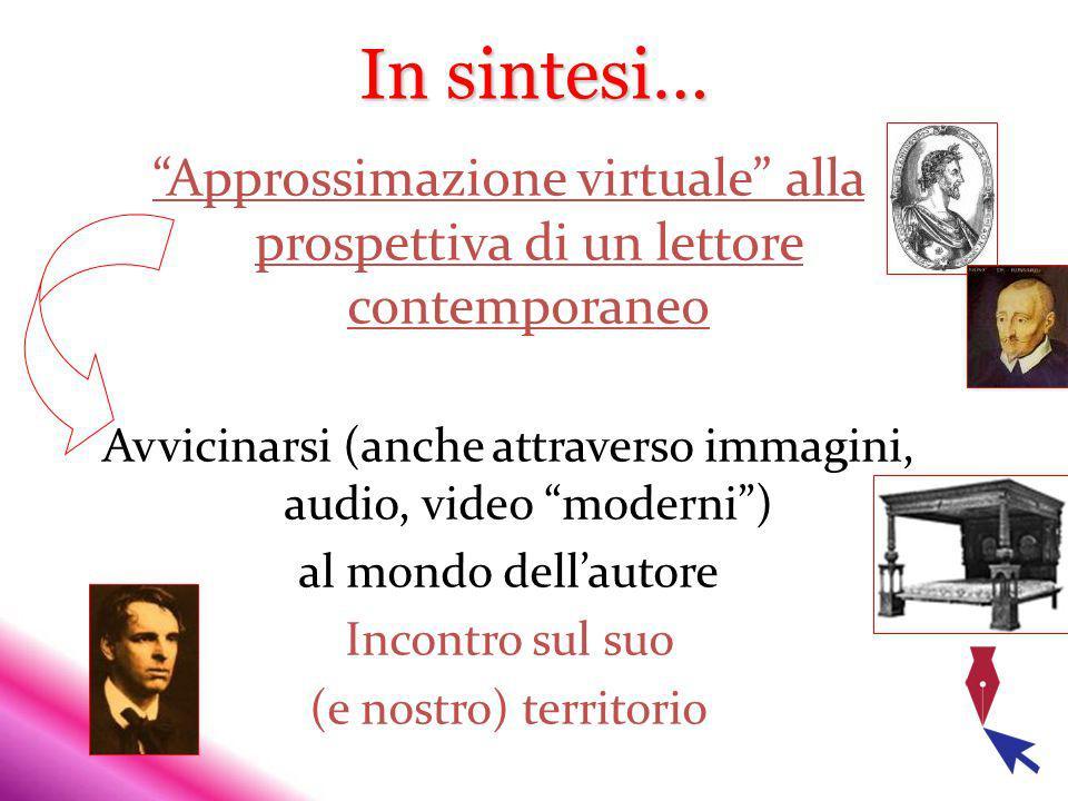In sintesi… Approssimazione virtuale alla prospettiva di un lettore contemporaneo Avvicinarsi (anche attraverso immagini, audio, video moderni) al mondo dellautore Incontro sul suo (e nostro) territorio